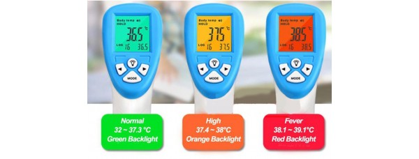 Instant Temperature Scanner - traffic light instant readout and 32-entry log